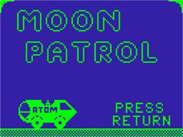 Title screen of Moon Patrol on the Acorn Atom.