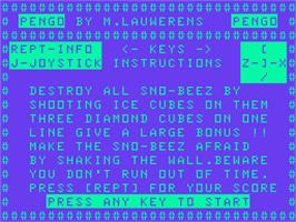 Title screen of Pengo on the Acorn Atom.