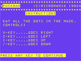 Title screen of Puckman on the Acorn Atom.