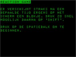 Title screen of Reaction Game on the Acorn Atom.