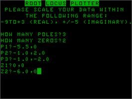 Title screen of Root Locus Plotter on the Acorn Atom.