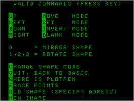 Title screen of Shape Edit on the Acorn Atom.