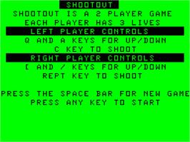 Title screen of Shoot Out on the Acorn Atom.