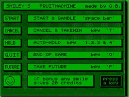 Title screen of Smiley's Fruitmachine on the Acorn Atom.