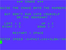 Title screen of Snake on the Acorn Atom.