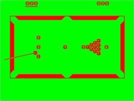 Title screen of Snooker on the Acorn Atom.