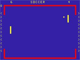 Title screen of Soccer on the Acorn Atom.