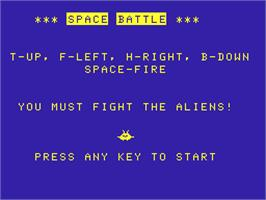 Title screen of Space Battle on the Acorn Atom.