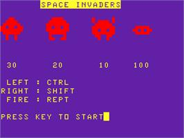 Title screen of Space Invaders on the Acorn Atom.