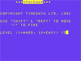 Title screen of Space War on the Acorn Atom.