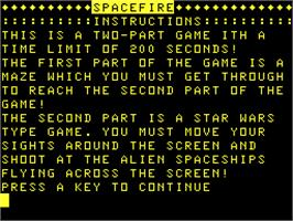 Title screen of Spacefire on the Acorn Atom.