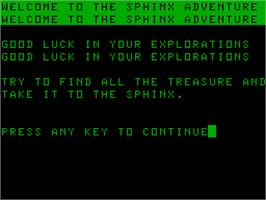 Title screen of Sphinx on the Acorn Atom.