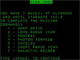 Title screen of Star Trek on the Acorn Atom.
