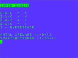 Title screen of Super Zombie on the Acorn Atom.