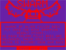 Title screen of Swarm on the Acorn Atom.
