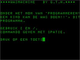 Title screen of Wasmachine on the Acorn Atom.