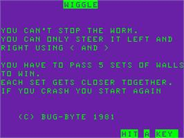 Title screen of Wiggle on the Acorn Atom.