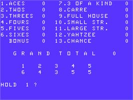 Title screen of Yahtzee on the Acorn Atom.