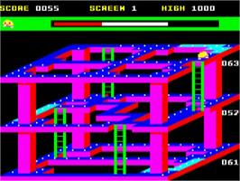 In game image of 3D Dotty on the Acorn BBC Micro.