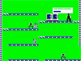 In game image of Impossible Mission on the Acorn BBC Micro.