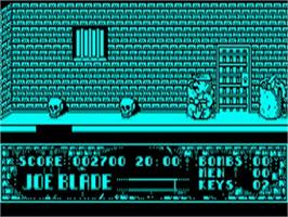In game image of Joe Blade on the Acorn BBC Micro.
