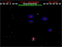 In game image of Moon Cresta on the Acorn BBC Micro.