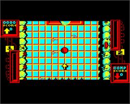 In game image of Ballistix on the Acorn Electron.