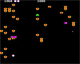 In game image of Bug Blaster on the Acorn Electron.