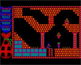 In game image of Camelot on the Acorn Electron.