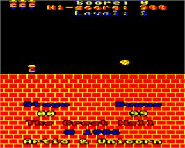 In game image of Great Wall on the Acorn Electron.