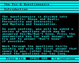In game image of Know Your Own PSI-Q on the Acorn Electron.