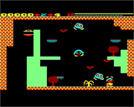 In game image of Pandemonium on the Acorn Electron.