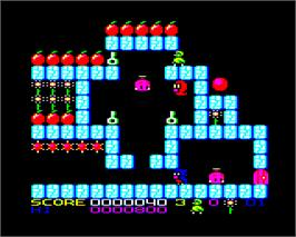 In game image of Qwak on the Acorn Electron.