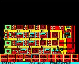 In game image of Sim City on the Acorn Electron.