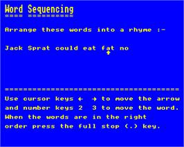 In game image of Word Sequencing on the Acorn Electron.
