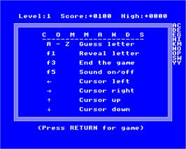 In game image of Xanagrams on the Acorn Electron.