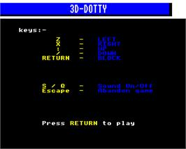 Title screen of 3D Dotty on the Acorn Electron.