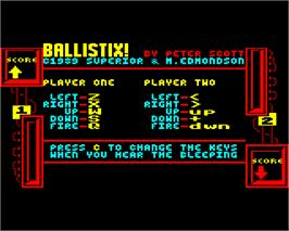 Title screen of Ballistix on the Acorn Electron.