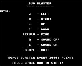 Title screen of Bug Blaster on the Acorn Electron.