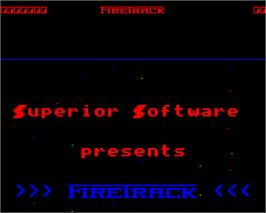 Title screen of Firetrack on the Acorn Electron.
