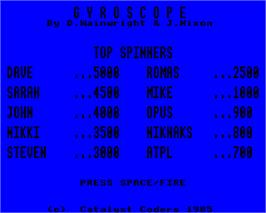 Title screen of Gyroscope on the Acorn Electron.