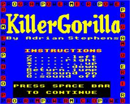Title screen of Killer Gorilla on the Acorn Electron.