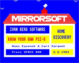 Title screen of Know Your Own PSI-Q on the Acorn Electron.