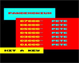 Title screen of Pandemonium on the Acorn Electron.