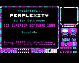 Title screen of Perplexity on the Acorn Electron.