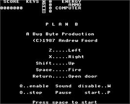 Title screen of Plan B on the Acorn Electron.