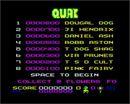 Title screen of Qwak on the Acorn Electron.