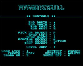 Title screen of Ravenskull on the Acorn Electron.