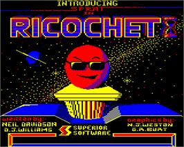 Title screen of Ricochet on the Acorn Electron.