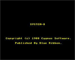 Title screen of System-8 on the Acorn Electron.